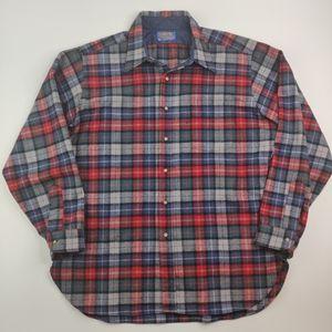 Pendleton Plaid Wool Shirt Size XL *Defects*